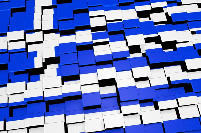 Modern 3D rendered concept of numerous square tiles sliding together to form the national flag of