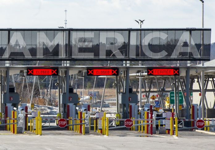 The U.S. border crossing is seen on March 18, 2020 in Lacolle,