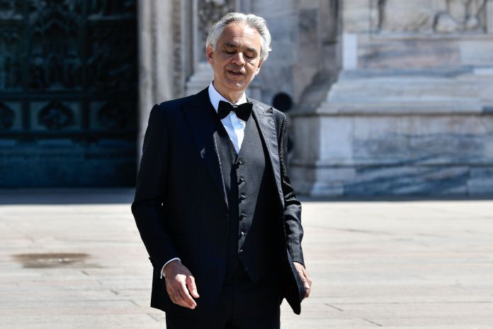 MILAN, ITALY - APRIL 12: Andrea Bocelli outside the Duomo Cathedral of Milan, before the start of the ...