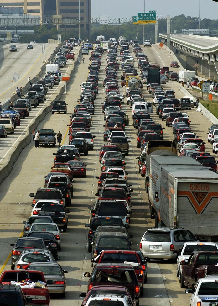 Vehicles jam the northbound lanes of I-45 in Houston as people try to evacuate in advance of Hurricane Rita in 2005.