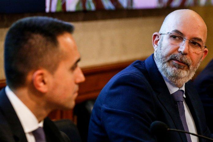 Luigi Di Maio, Vito Crimi during the press conference of the 5 Star Movement to present a plan ...