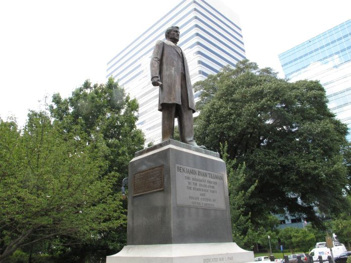"""The statue honoring former South Carolina governor and U.S. senator """"Pitchfork"""" Ben Tillman is seen on the grounds of the Sta"""