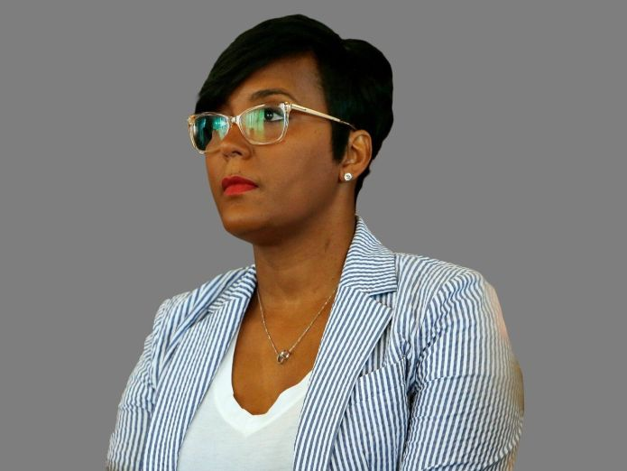 Keisha Lance Bottoms headshot, as Atlanta Mayor, graphic element on