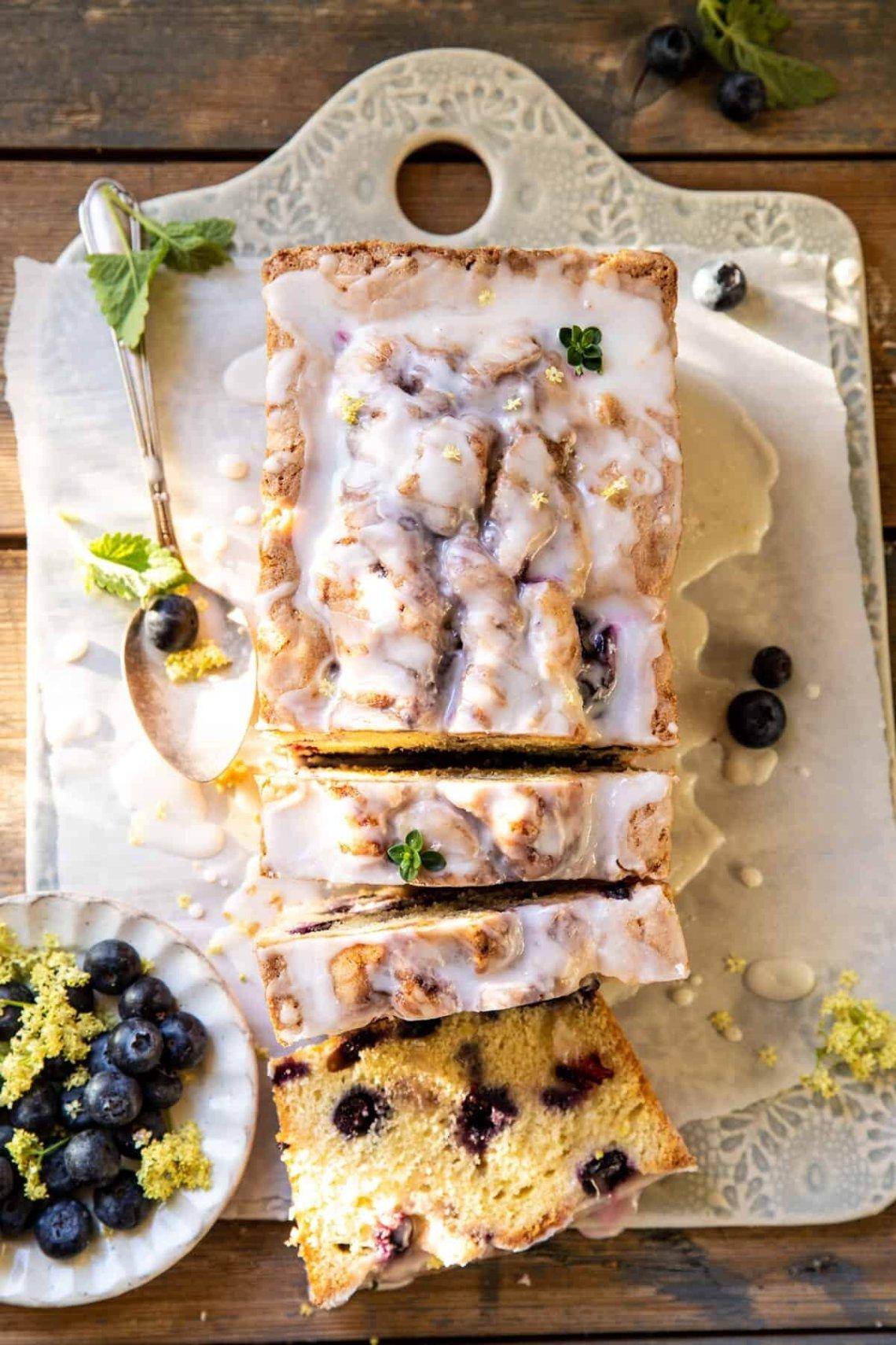 Swirled Blueberry Lemon Thyme Cake from Half Baked Harvest