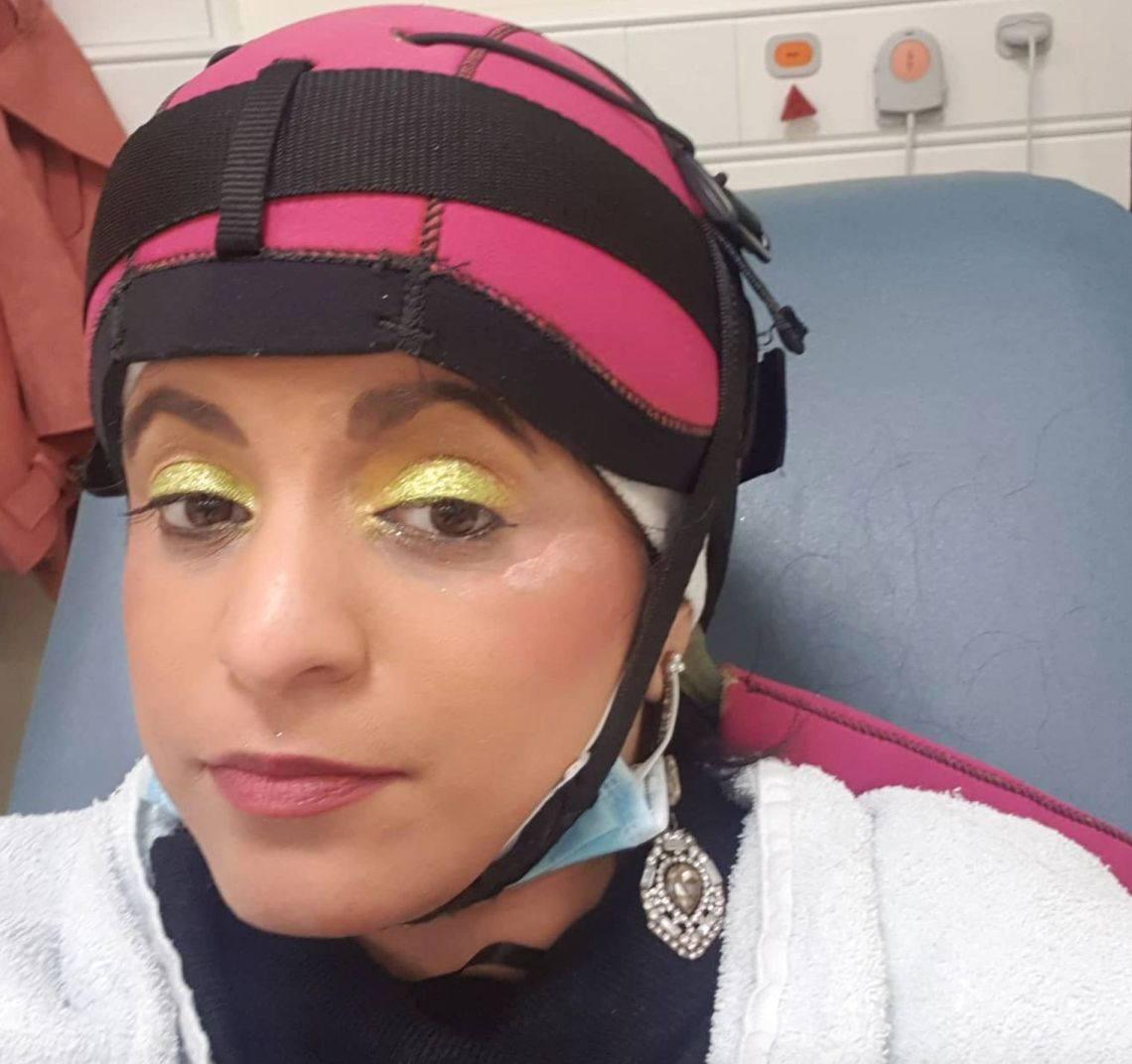 Sunita Thind in a hair cap to prevent further hair loss from her chemo.
