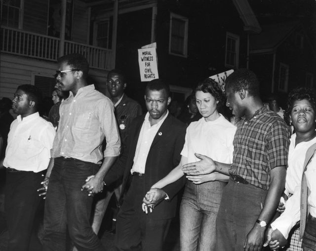 Civil Rights leaders, including future Congressman John Lewis (third left) and Gloria Richardson (third right), chair of the