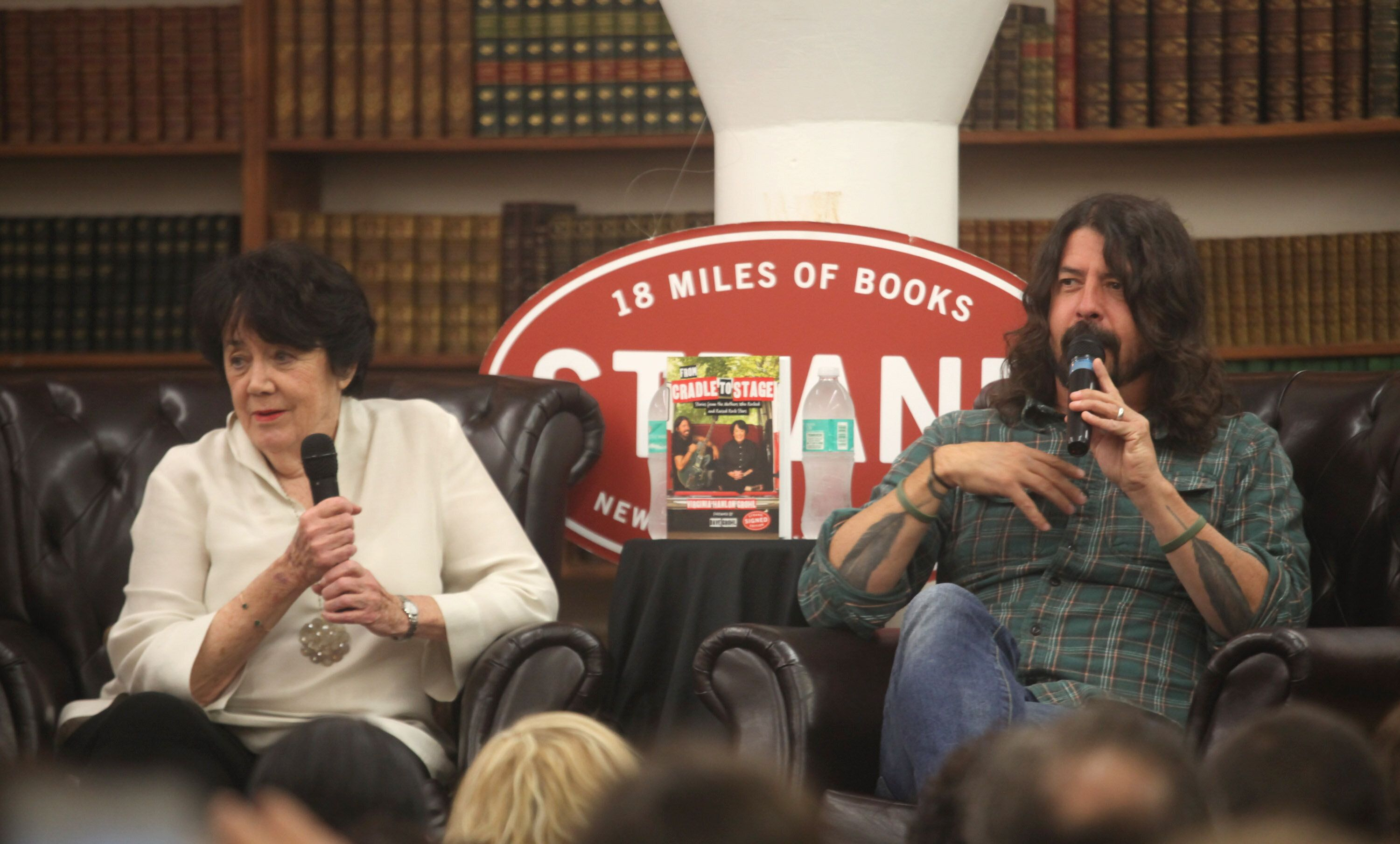 """Dave Grohl and his mother, Virginia Grohl, attend a 2017 event in New York City to promote her book, """"From Cradle to St"""