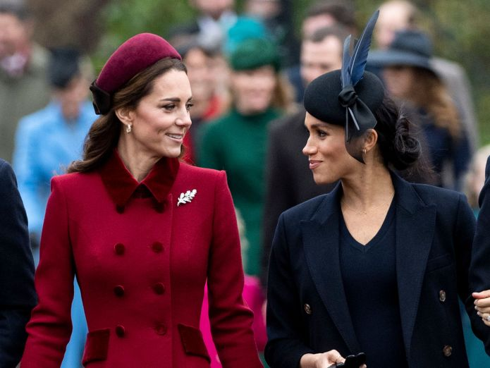 Kate Middleton and Meghan Markle attend Christmas Day service at the Church of St. Mary Magdalene on the Sandringham Estate o