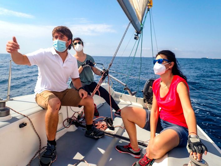 Wearing a mask adds another level of protection when boating with people outside your household.