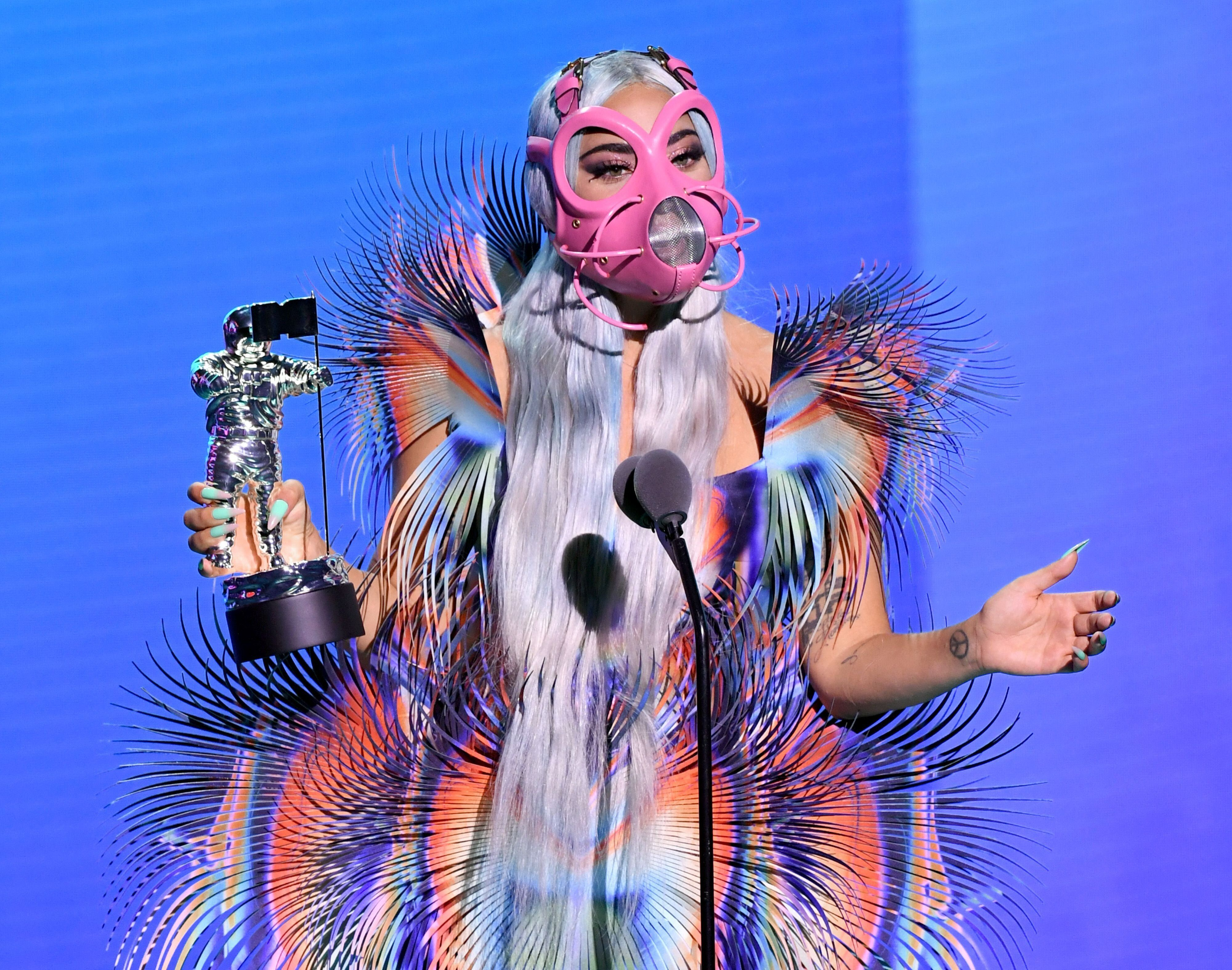 "Lady Gaga accepts the Best Collaboration award for ""Rain on Me"" with Ariana Grande during the 2020 MTV Video Music Awards."