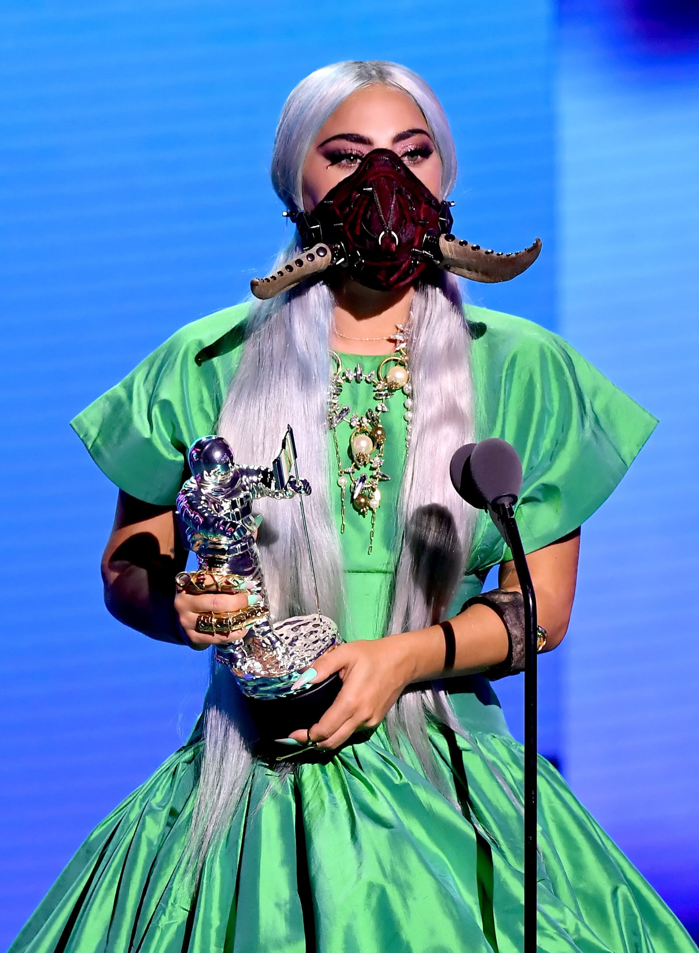 "Lady Gaga accepts the Song of the Year award for ""Rain on Me"" onstage during the 2020 MTV Video Music Awards."