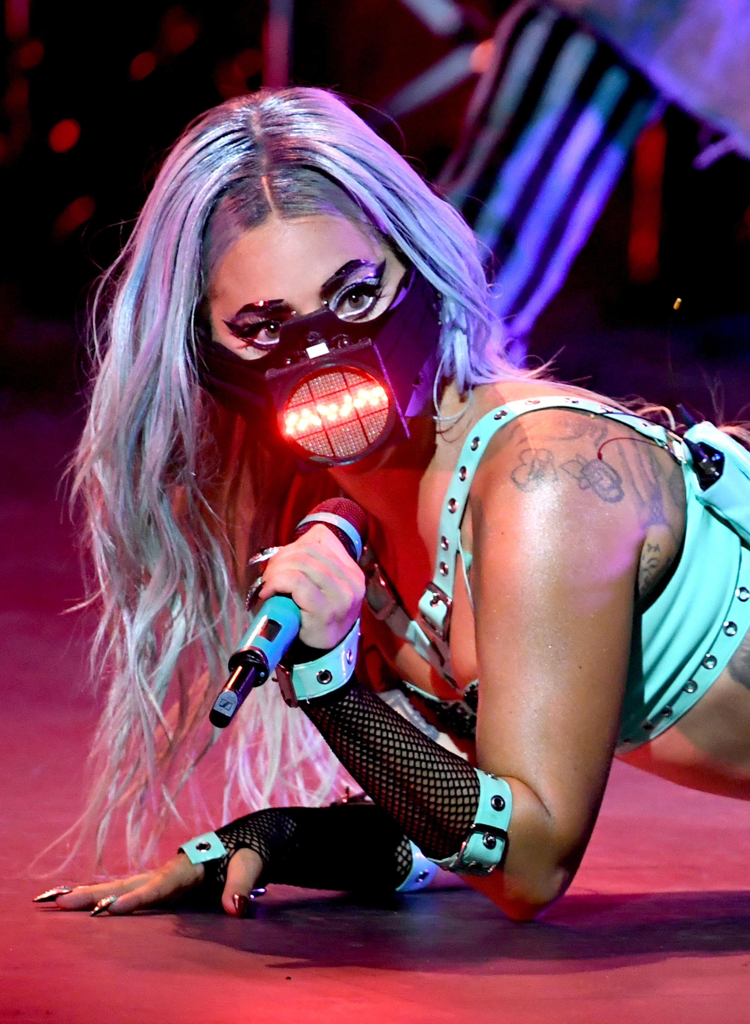 Lady Gaga performs during the 2020 MTV Video Music Awards.