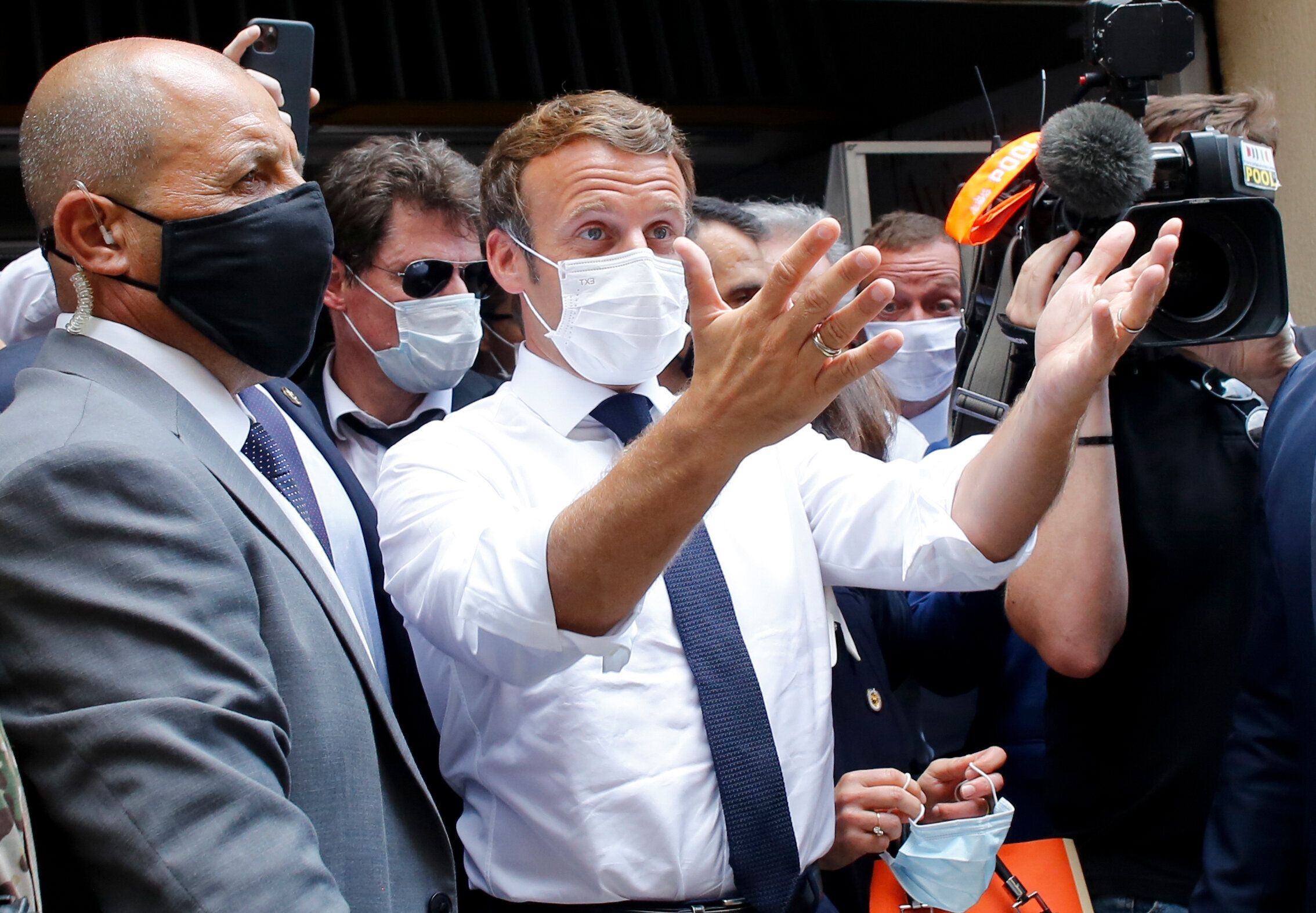 Emmanuel Macron lors de sa visite à Beyrouth le 6