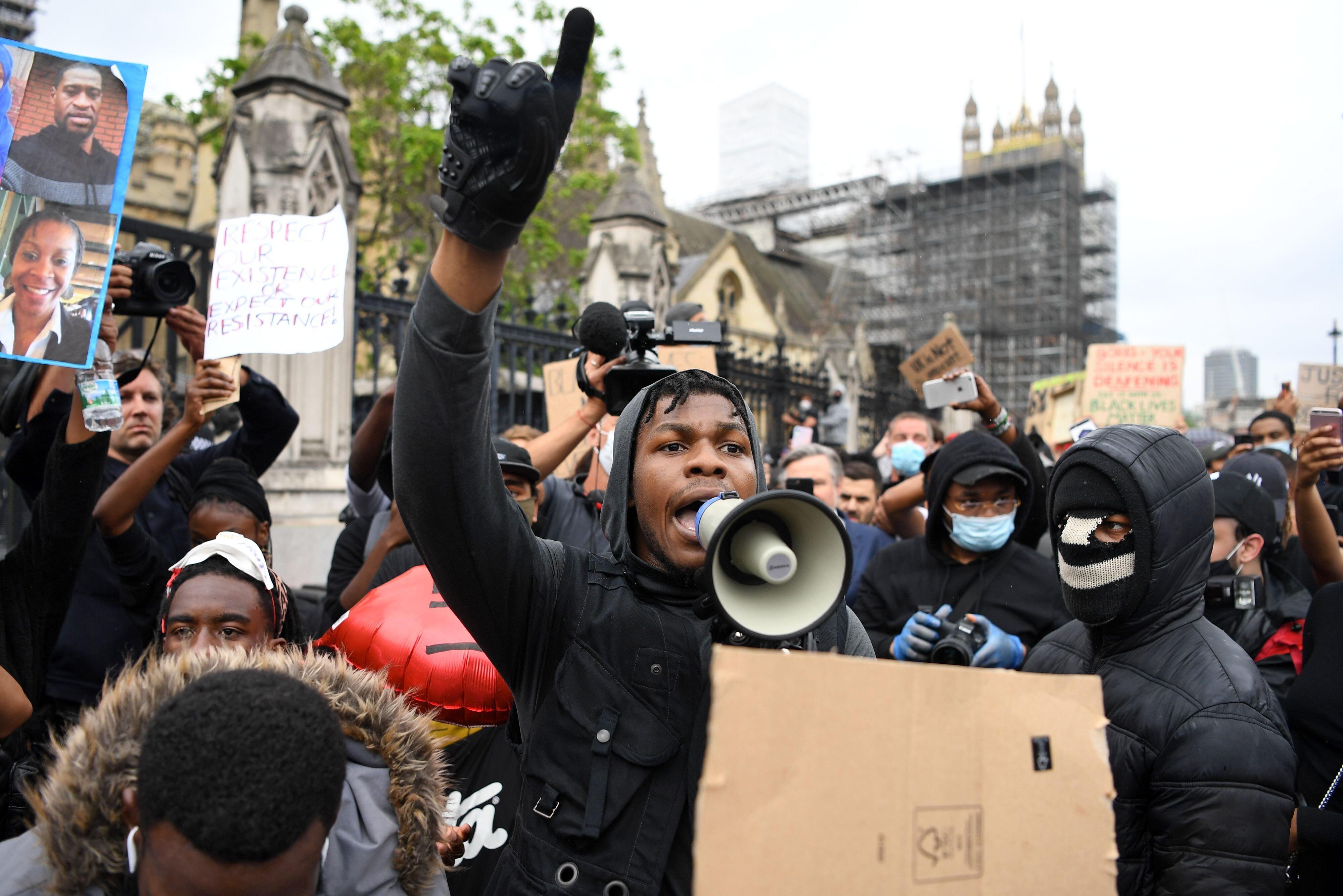 John Boyega at a Black Lives Matter protest in June.