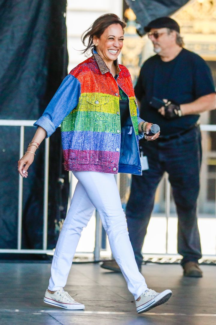Senator Kamala Harris wears Converse at Civic Center plaza to greet people at the annual Pride Parade in San Francisco, on Sunday, June 30, 2019.