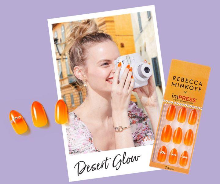"<a href=""https://www.impressmanicure.com/rebecca-minkoff-x-impress-press-on-manicure-desert-glow"" target=""_blank"" rel=""noopener noreferrer"">Rebecca Minkoff x imPRESS Press-On Manicure, $8.99</a>"