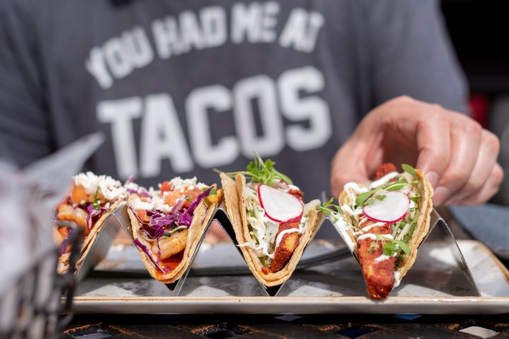 "For your tacos, say ""yes"" to all the vegetable accompaniments: pico de gallo, charred green onions, shredded cabbage or lettuce."