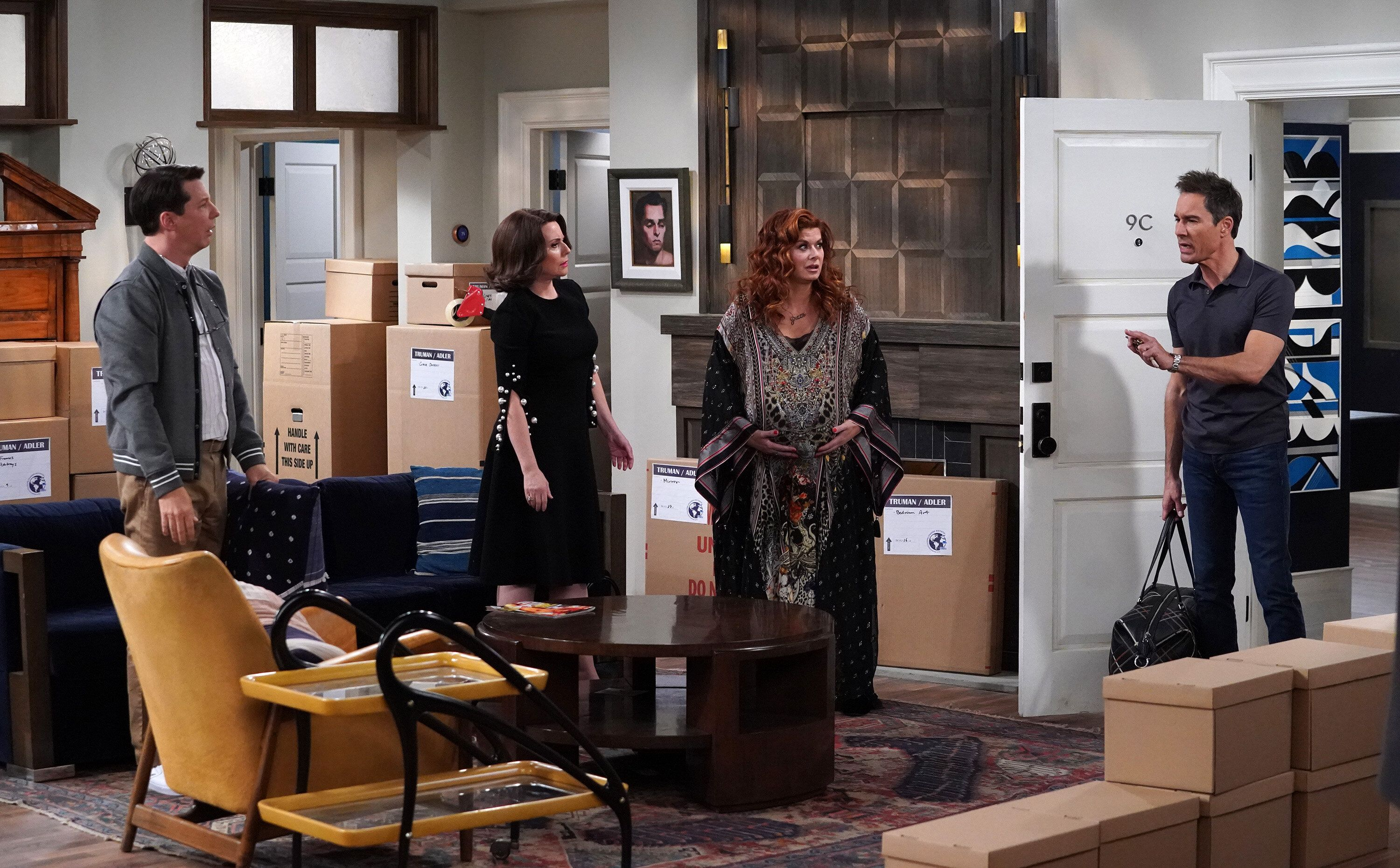 From left, Sean Hayes as Jack McFarland, Megan Mullally as Karen Walker, Messing as Grace Adler, Eric McCormack as Will Truma