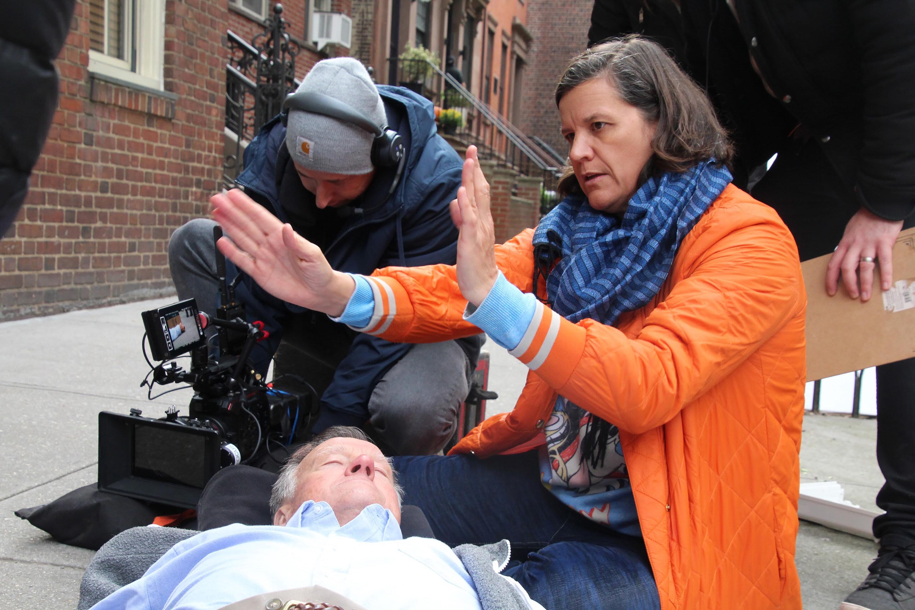 """Kirsten Johnson on the set of """"Dick Johnson Is Dead."""""""