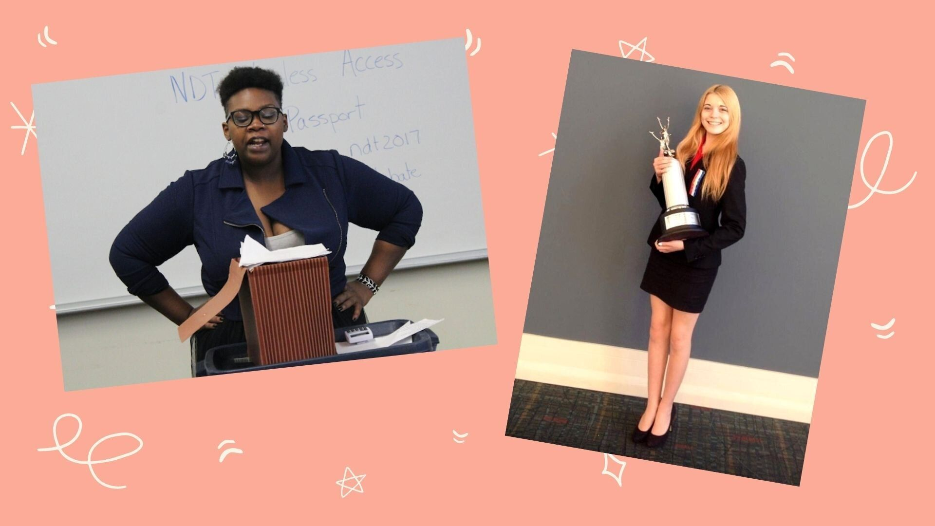 Nicole Nave in 2017 when she was a collegiate debater; Katie Hughes at Nationals in 2014.