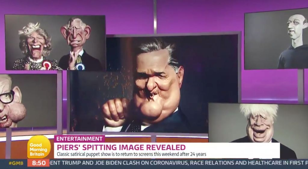 Piers Morgan's Spitting Image Puppet Is Unveiled Live On Good Morning Britain
