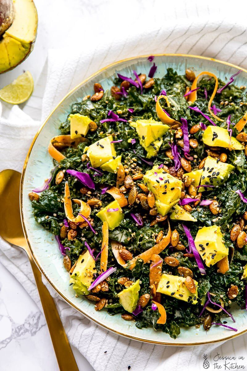The Best Kale Salad with Sesame Tahini Dressing from Jessica In The Kitchen