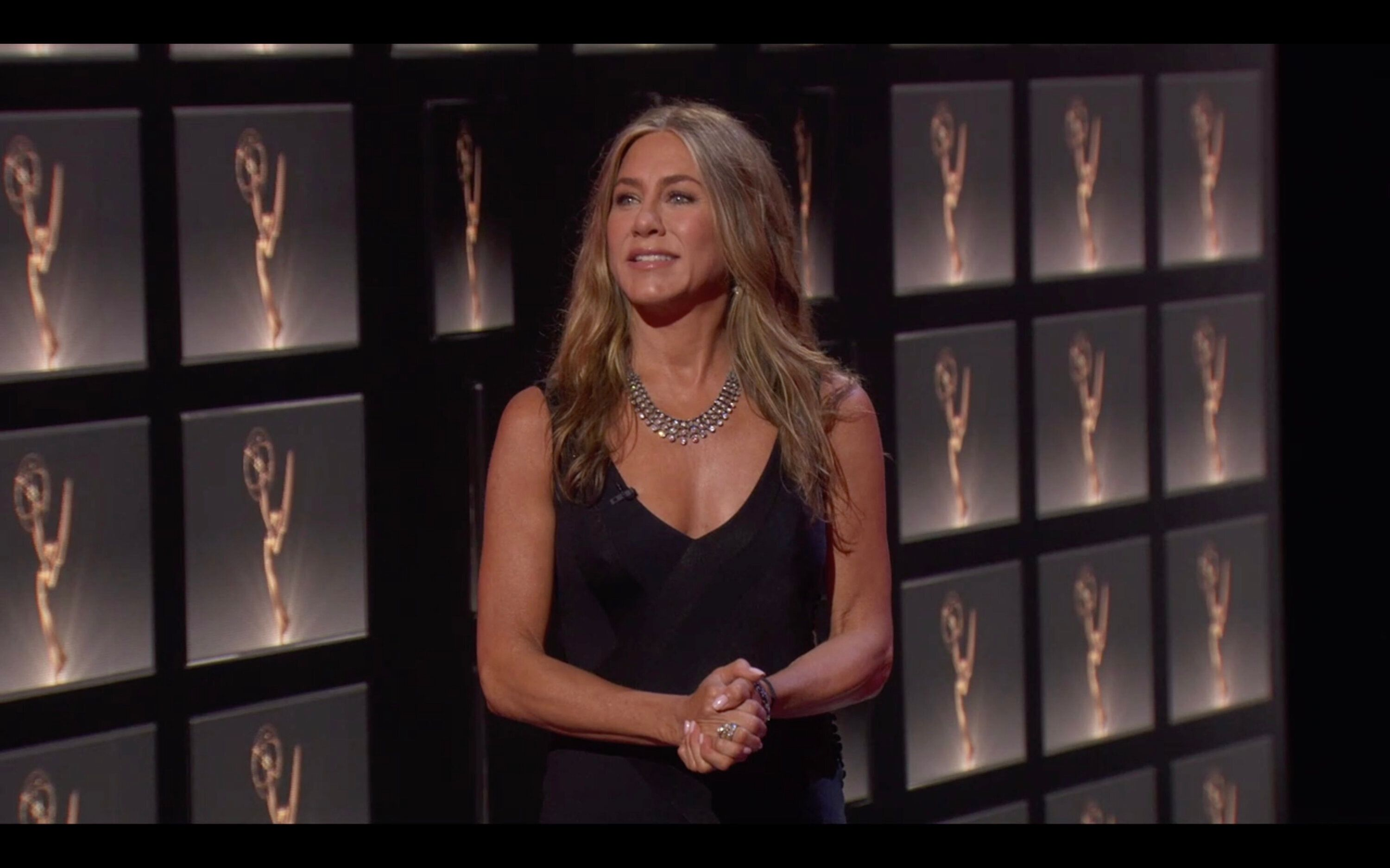 Jennifer Aniston on stage at the 72nd Annual Emmy Awards.