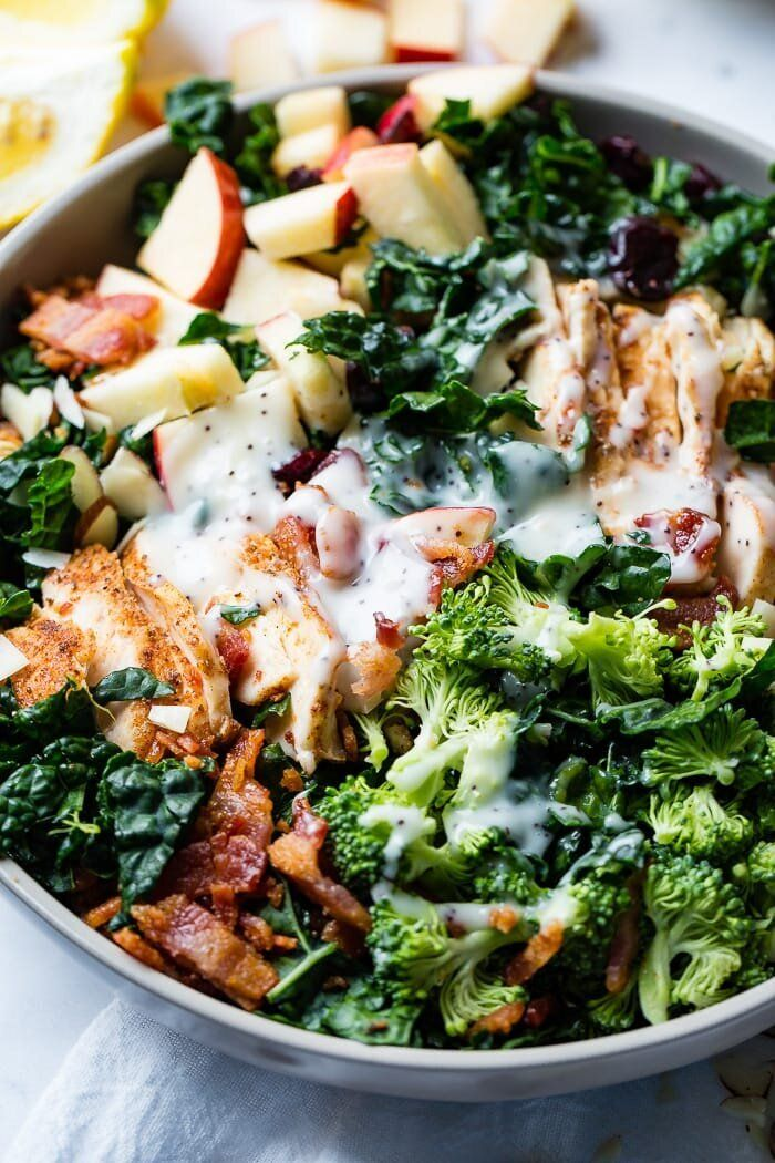 Smoked Chicken Kale Salad with Cranberries from Oh Sweet Basil