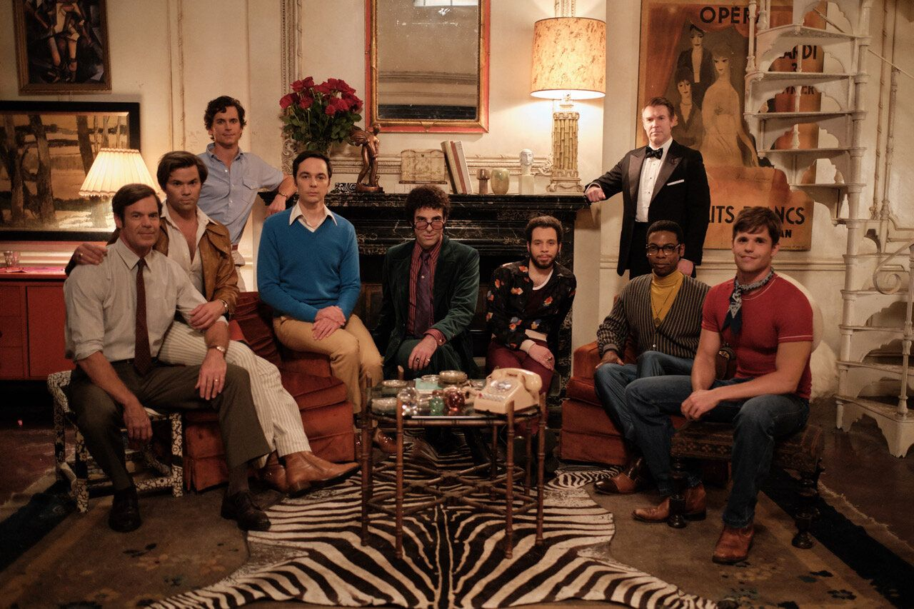 """""""The Boys in the Band"""" stars (from left) Tuc Watkins, Andrew Rannells, Matt Bomer, Jim Parsons, Zachary Quinto, Robin de&nbsp"""
