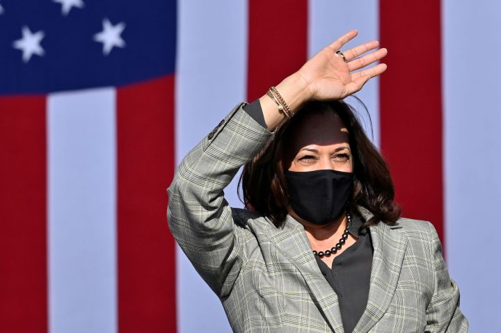 Harris takes part in a drive-in campaign event in Las Vegas, Oct. 2.
