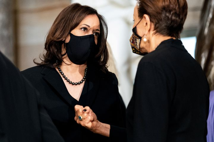 Harris attends a memorial service in honor of the U.S. Supreme Court Associate Justice Ruth Bader Ginsburg on Sept. 25.