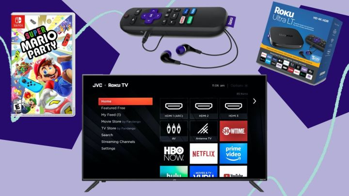 Walmart Prime Day deals on electronics, including TVs, Nintendo Switch games, and Roku streaming devices.