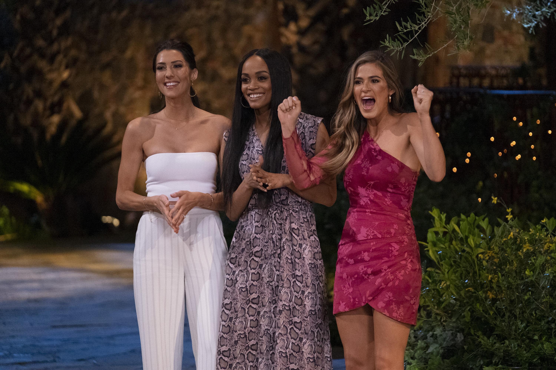 "Former Bachelorettes Becca Kufrin, Rachel Lindsay and Jojo Fletcher ahead of the 15th season of ""The Bachelorette."""