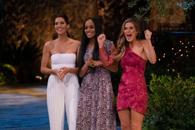 "Former Bachelorettes Becca Kufrin, Rachel Lindsay and Jojo Fletcher ahead of the 15th season of ""The Bachelorette."""