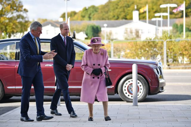The royals speak with Dstl Chief Executive Gary Aitkenhead during their visit to the Defence Science and Technology Laborator