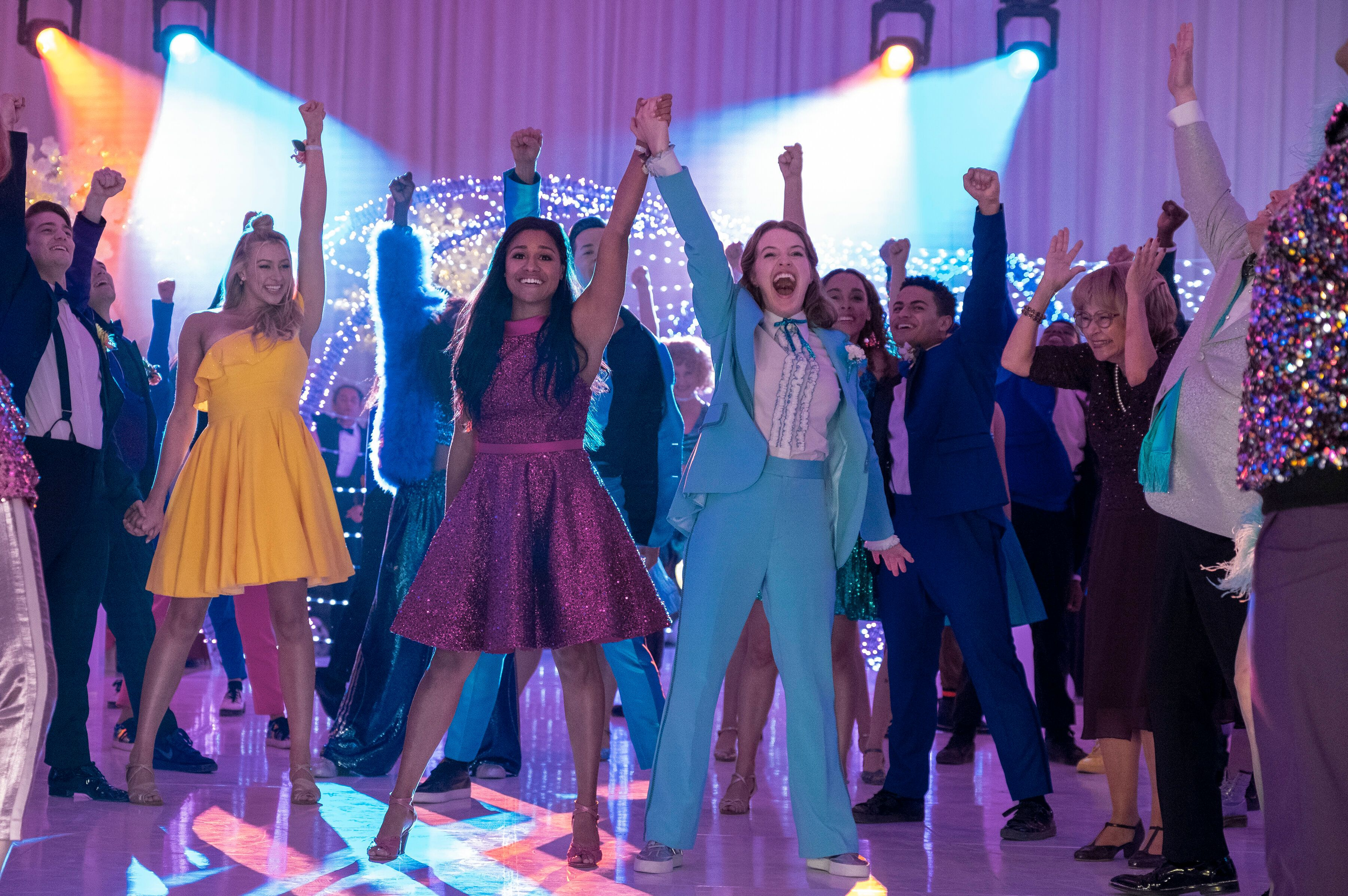 """Based on the 2018 Broadway musical, """"The Prom"""" was loosely inspired by a number of real-life cases in which LGBTQ teens were"""