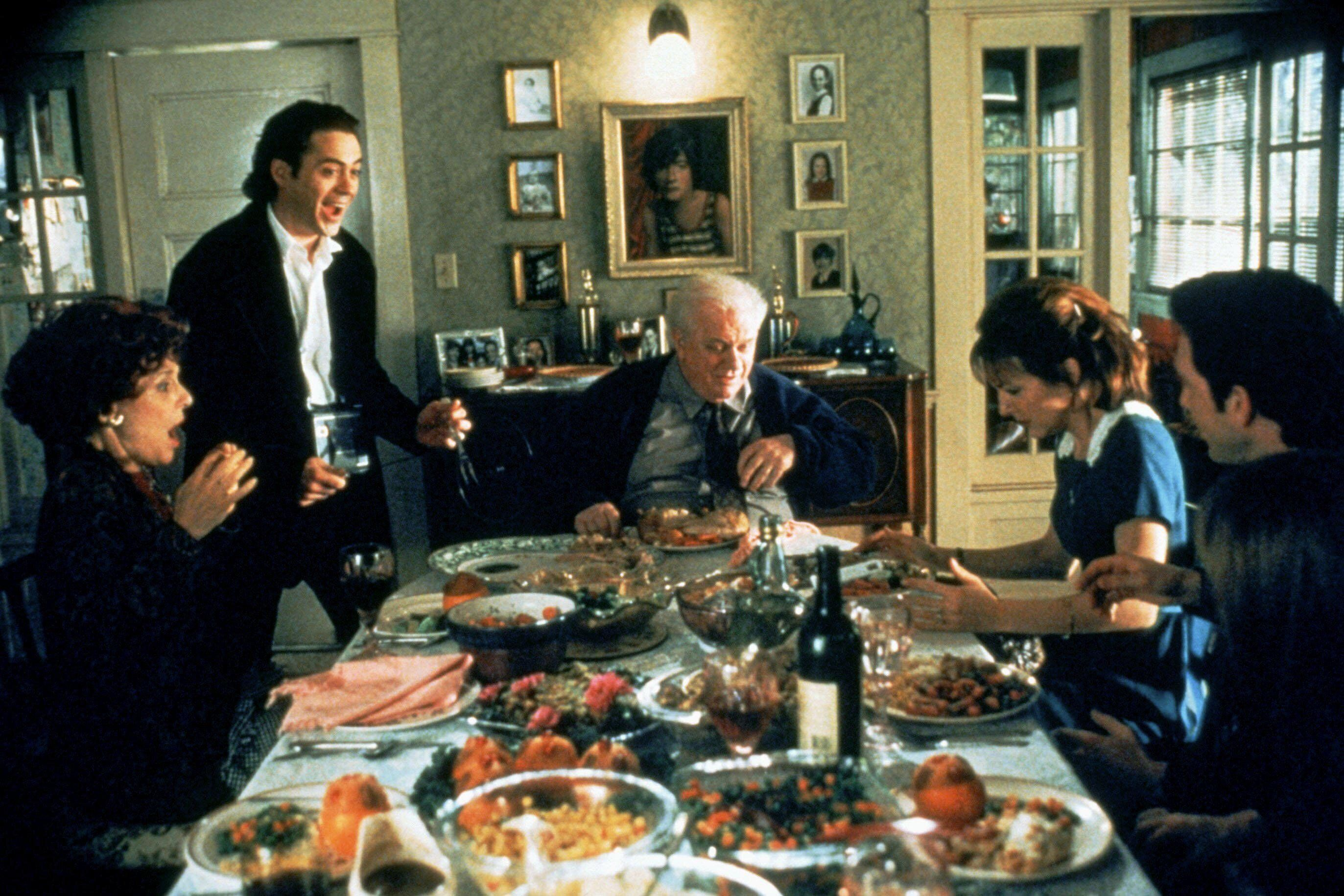 """Bancroft, Downey Jr., Durning,Cynthia Stevenson and Steve Guttenberg in """"Home for the Holidays."""""""