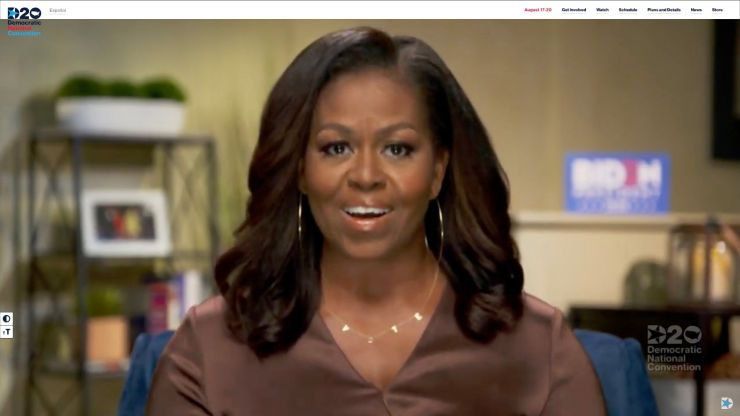 Former first lady Michelle Obama addresses the virtual DNC on Aug. 17.