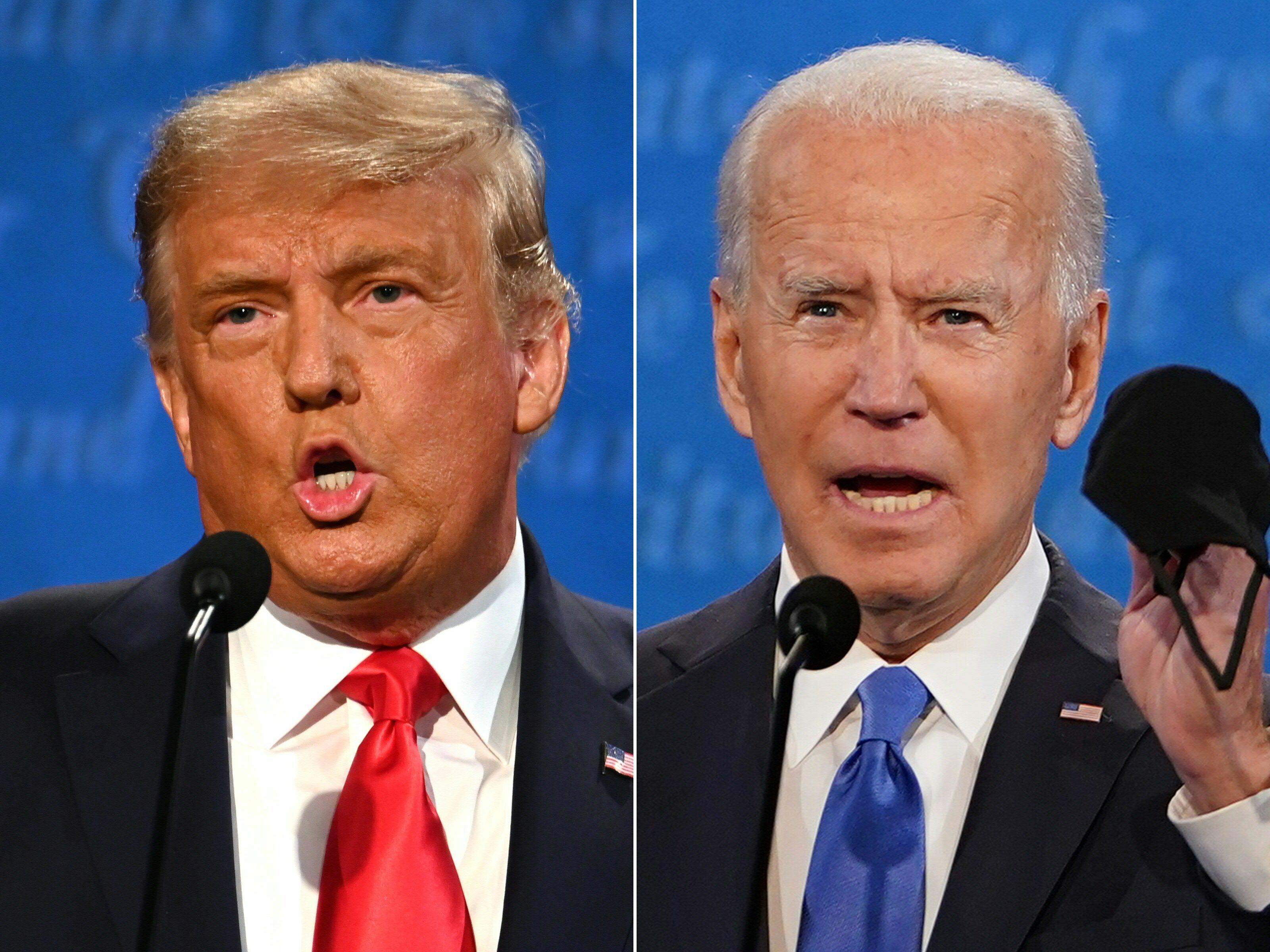 Joe Biden, ici avec Donald Trump le 22 octobre lors du débat présidentiel à Nashville,...