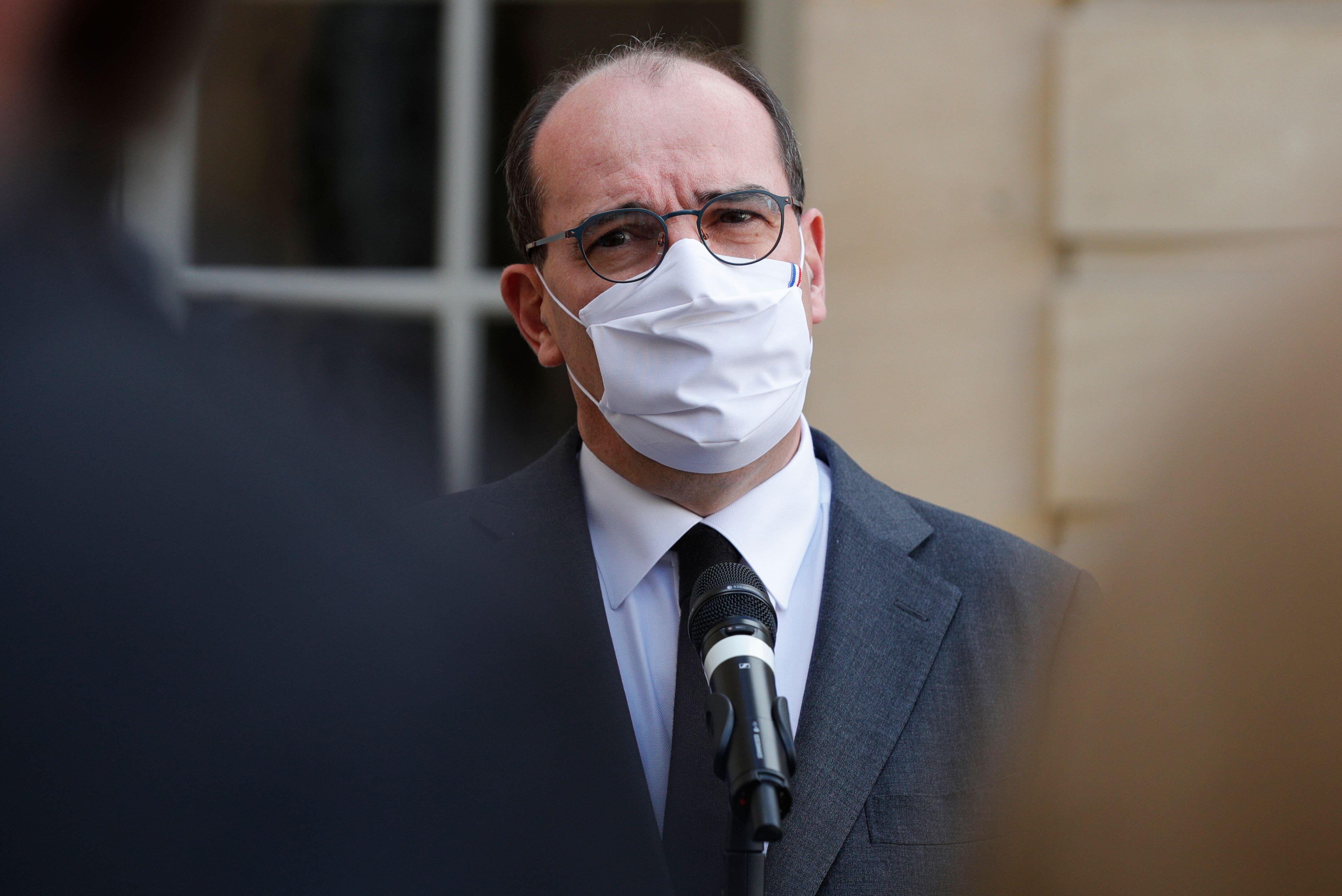 Le premier ministre Jean Castex s'exprimant depuis