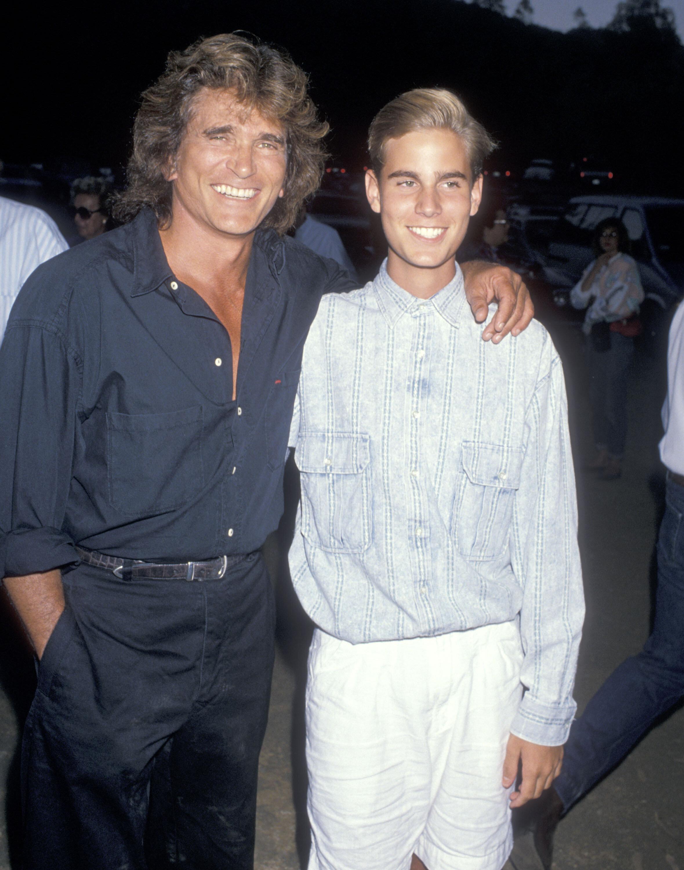 Michael Landon and Christopher Landon at a benefit gala on July 29, 1989, in Malibu, California.