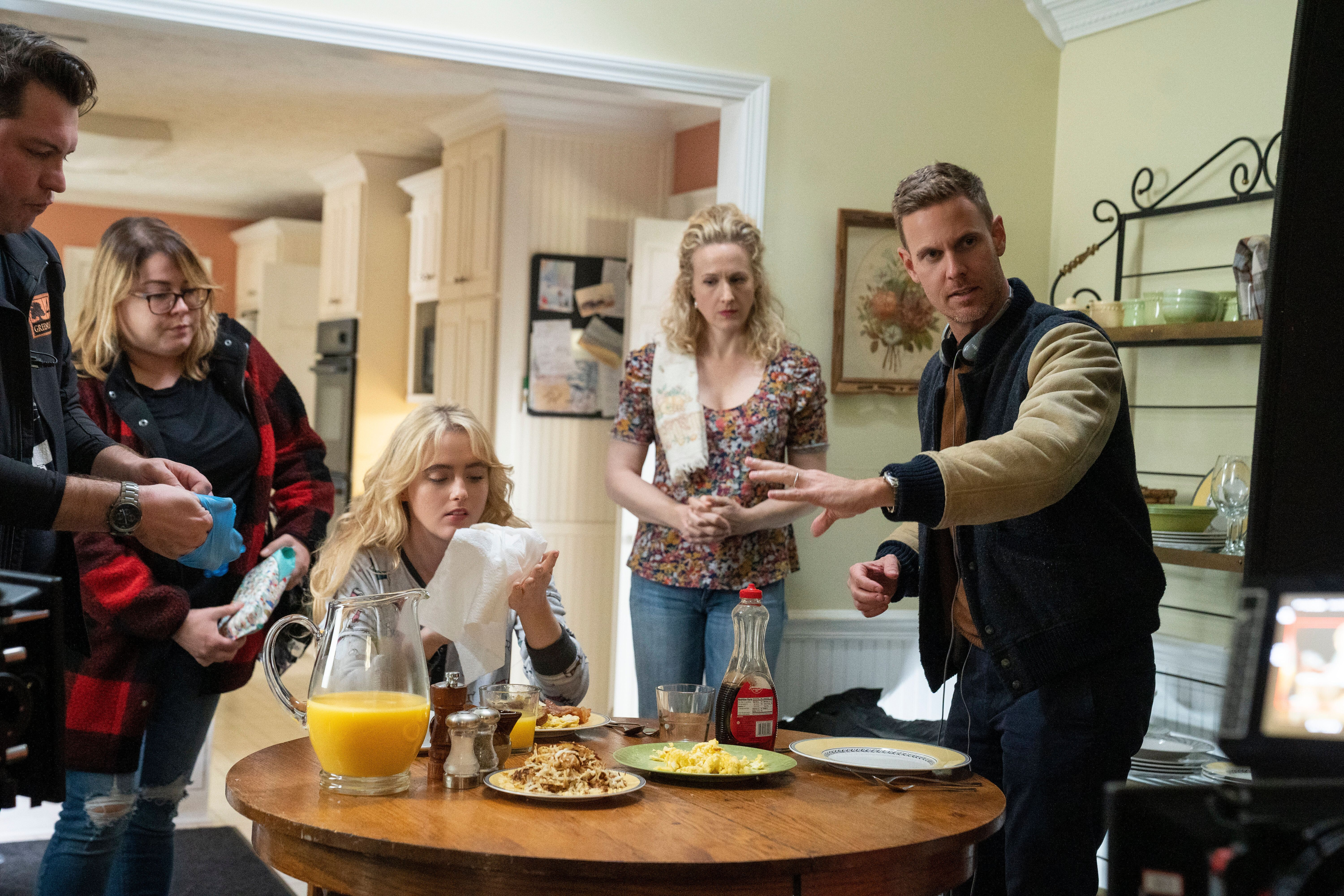 """Christopher Landon directs a scene on the set of """"Freaky."""""""