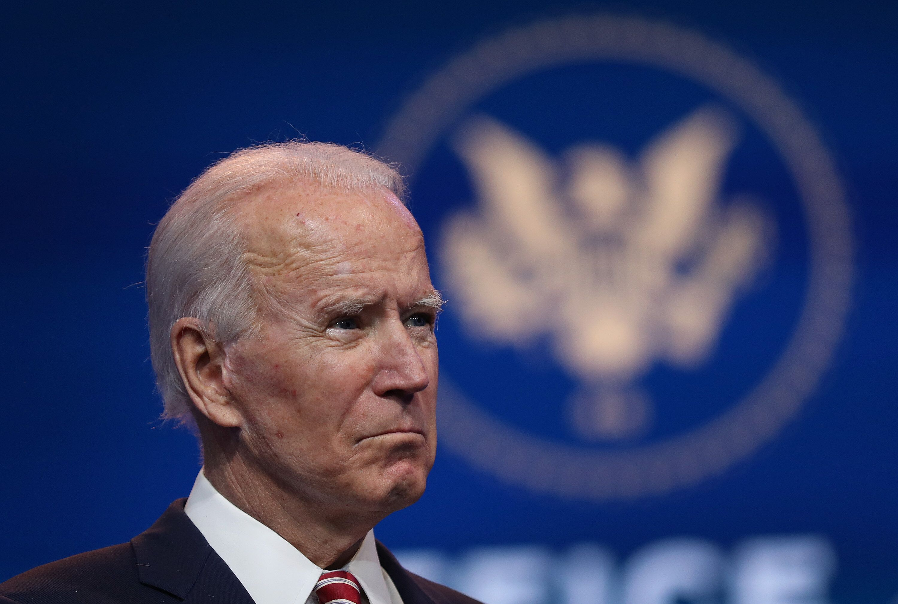 U.S. President-elect Joe Biden delivers remarks about the U.S. economy during a press briefing at the Queen Theater on Novemb