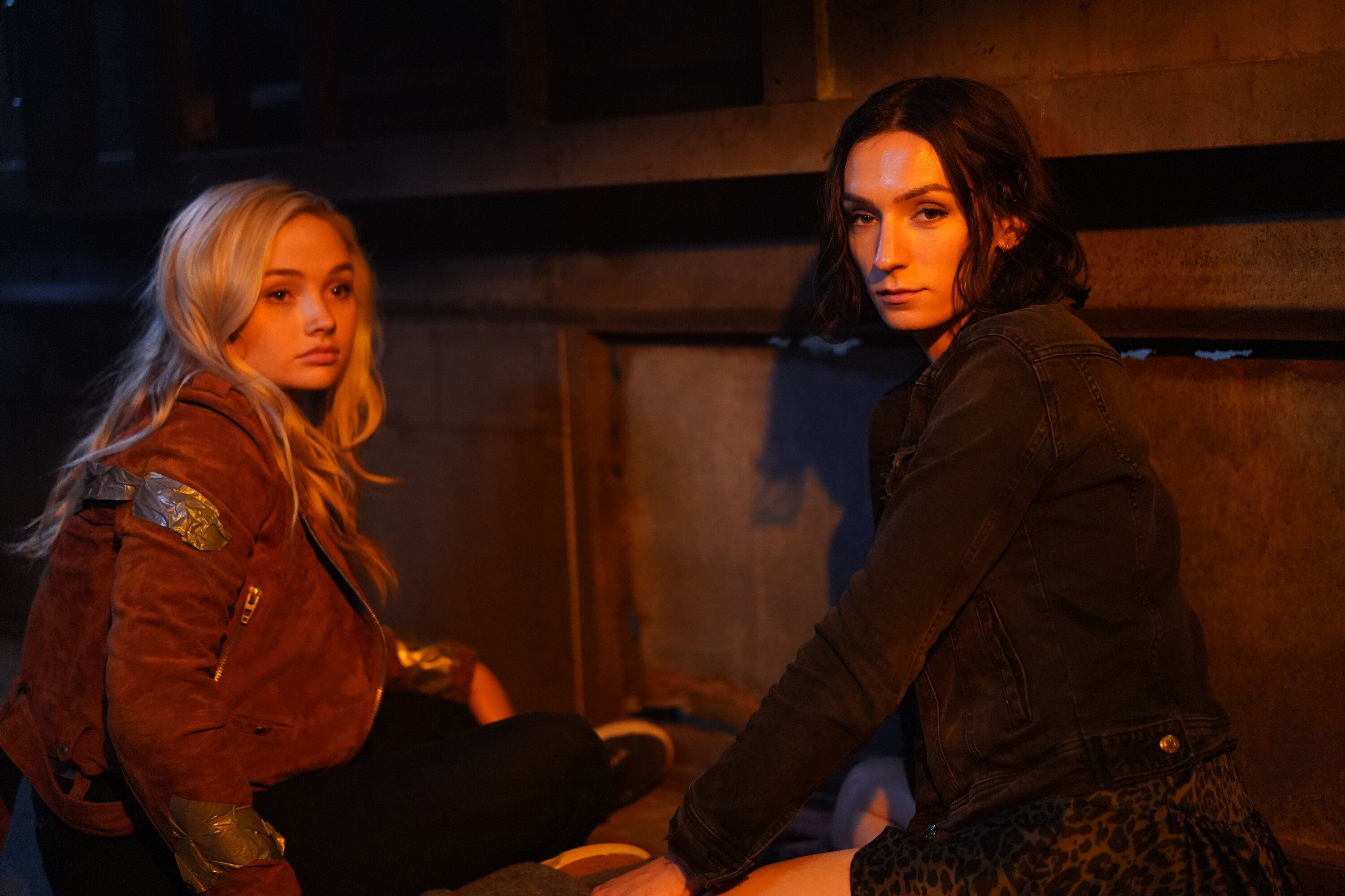 "Keitel (right, with co-star Natalie Alyn Lind) is hopeful viewers can ""look past [Jerrie's] trans and nonbinary i"
