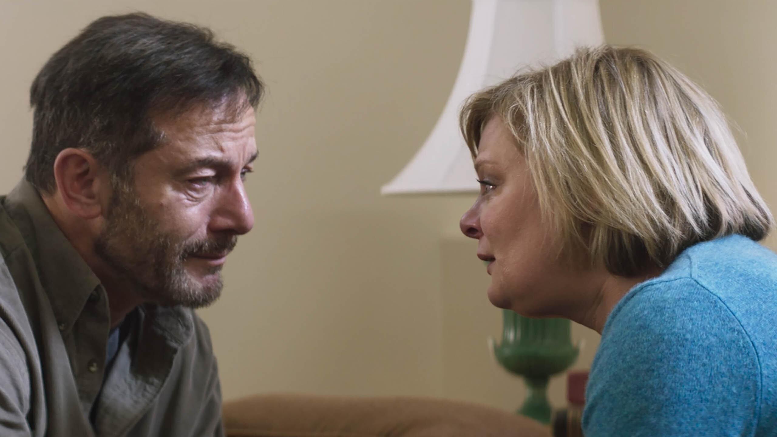 "Jason Isaacs and Martha Plimpton in ""Mass."""