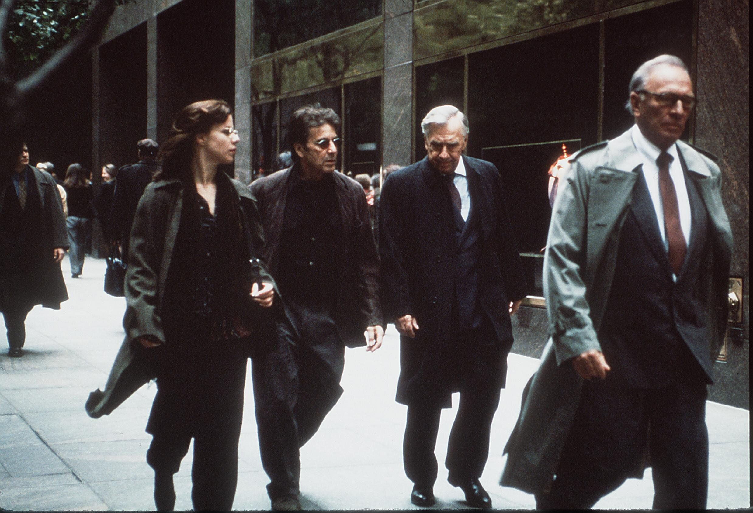 "From left to right: Debi Mazar, Al Pacino, Philip Baker and Plummer in ""The Insider."""