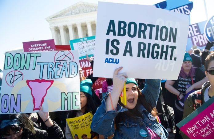 Abortion rights activists protest outside the US Supreme Court on March 4, 2020, as Justice hears debate over a lo