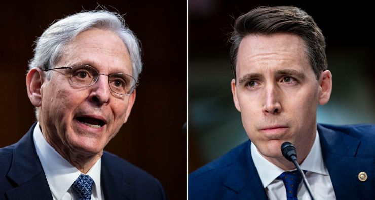 Left: Attorney General nominee Merrick Garland speaks during his confirmation hearing before the Senate Judiciary Committee o