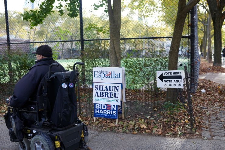 A New York voter heads to the polls on Election Day, Nov. 3, 2020.