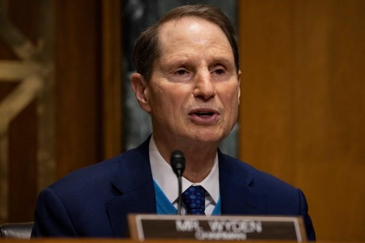 Senate Finance Committee Chairman Ron Wyden (D-Ore.) at a Senate Finance Committee hearing on Capitol Hill on Feb. 25.